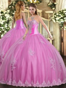 Rose Pink Sweetheart Lace Up Beading and Appliques Quinceanera Gowns Sleeveless