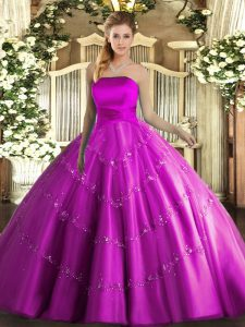 Fashionable Strapless Sleeveless Lace Up Quinceanera Dress Fuchsia Tulle