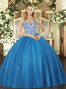 Designer Blue Tulle Lace Up Straps Sleeveless Floor Length Ball Gown Prom Dress Beading and Appliques