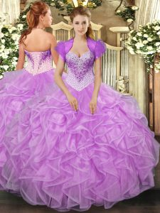 Noble Lilac Ball Gowns Beading and Ruffles Sweet 16 Dress Lace Up Organza Sleeveless Floor Length