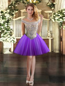Admirable Eggplant Purple Lace Up Off The Shoulder Beading Prom Gown Tulle Sleeveless