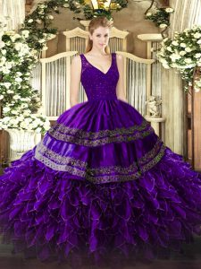 V-neck Sleeveless Organza Sweet 16 Quinceanera Dress Beading and Lace and Ruffles Backless