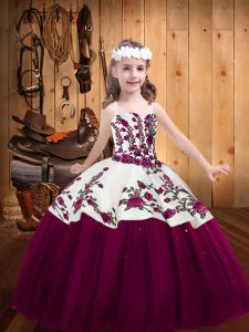 Excellent Embroidery Little Girls Pageant Gowns Fuchsia Lace Up Sleeveless Floor Length