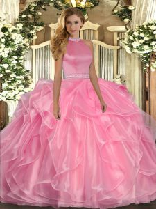 Customized Watermelon Red Organza Backless Halter Top Sleeveless Floor Length Ball Gown Prom Dress Beading and Ruffles