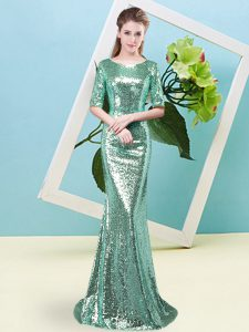 Graceful Turquoise Zipper Scoop Sequins Prom Evening Gown Sequined Half Sleeves