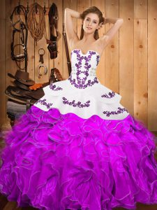 Great Embroidery and Ruffles Quinceanera Gowns Purple Lace Up Sleeveless Floor Length