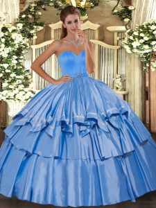 Admirable Floor Length Baby Blue Sweet 16 Dress Sweetheart Sleeveless Lace Up