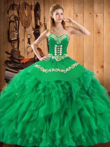 Spectacular Sweetheart Sleeveless Lace Up Sweet 16 Dress Green Satin and Organza