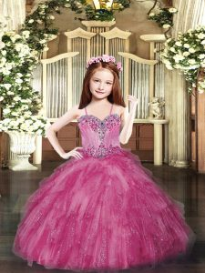 Luxurious Hot Pink Ball Gowns Tulle Spaghetti Straps Sleeveless Beading and Ruffles Floor Length Lace Up Little Girl Pageant Gowns