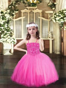 Floor Length Ball Gowns Sleeveless Rose Pink Kids Formal Wear Lace Up