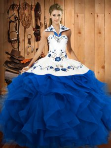 Blue Sweet 16 Dress Military Ball and Sweet 16 and Quinceanera with Embroidery and Ruffles Halter Top Sleeveless Lace Up