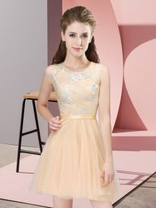 Custom Design Mini Length Champagne Court Dresses for Sweet 16 Scoop Sleeveless Side Zipper