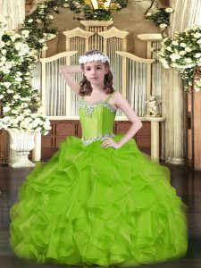 Perfect Beading and Ruffles Kids Formal Wear Lace Up Sleeveless Floor Length