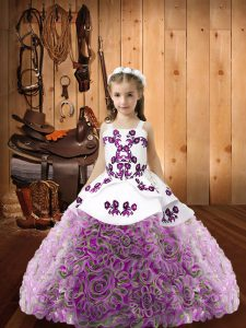 Multi-color Organza and Fabric With Rolling Flowers Lace Up Straps Sleeveless Floor Length Little Girl Pageant Gowns Beading