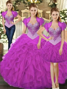 Chic Fuchsia Sleeveless Tulle Lace Up 15 Quinceanera Dress for Military Ball and Sweet 16 and Quinceanera