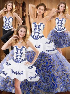 Multi-color Fabric With Rolling Flowers Lace Up Strapless Sleeveless With Train Ball Gown Prom Dress Sweep Train Embroidery