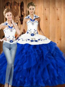 Wonderful Floor Length Blue And White Sweet 16 Quinceanera Dress Satin and Organza Sleeveless Embroidery and Ruffles