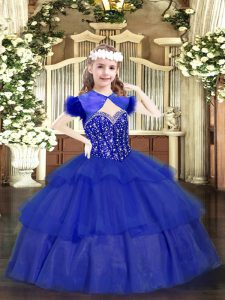 Straps Sleeveless Little Girls Pageant Gowns Floor Length Beading and Ruffled Layers Royal Blue Organza