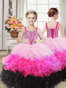 Multi-color Ball Gowns Organza Straps Sleeveless Beading and Ruffles Floor Length Lace Up Girls Pageant Dresses