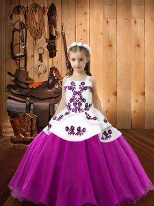 Excellent Straps Sleeveless Zipper Pageant Gowns For Girls Fuchsia Organza