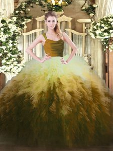 Sleeveless Tulle Floor Length Zipper Vestidos de Quinceanera in Multi-color with Ruffles