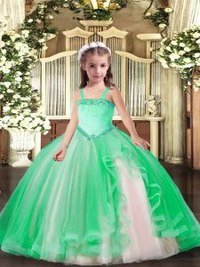 Best Floor Length Turquoise Little Girls Pageant Dress Wholesale Straps Sleeveless Lace Up