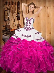 Sleeveless Satin and Organza Floor Length Lace Up Vestidos de Quinceanera in Fuchsia with Embroidery and Ruffles