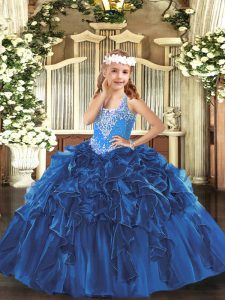 Organza V-neck Sleeveless Lace Up Beading and Ruffles Kids Formal Wear in Blue
