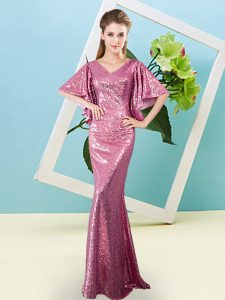 Artistic Pink Half Sleeves Sequined Zipper Prom Gown for Prom and Party
