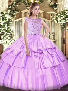 Simple Lavender Sleeveless Floor Length Beading and Ruffled Layers Zipper Quinceanera Dresses