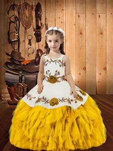 Stylish Sleeveless Lace Up Floor Length Embroidery and Ruffles Kids Formal Wear