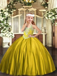 Stunning Satin V-neck Sleeveless Lace Up Beading Kids Formal Wear in Gold