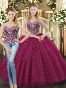 High End Fuchsia Sweetheart Neckline Beading 15 Quinceanera Dress Sleeveless Lace Up