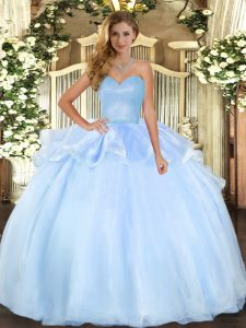 Light Blue Sleeveless Floor Length Beading and Ruffles Lace Up Ball Gown Prom Dress