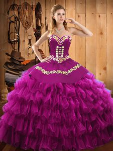 Top Selling Fuchsia Sweetheart Neckline Embroidery and Ruffled Layers Sweet 16 Dresses Sleeveless Lace Up