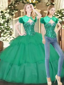 High Class Beading and Ruffled Layers 15th Birthday Dress Turquoise Lace Up Sleeveless Floor Length