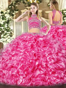 Amazing Floor Length Backless Quinceanera Gown Hot Pink for Military Ball and Sweet 16 and Quinceanera with Beading and Ruffles