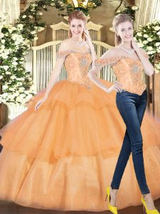 Orange Red Organza Lace Up Quinceanera Dresses Sleeveless Floor Length Beading and Ruffled Layers
