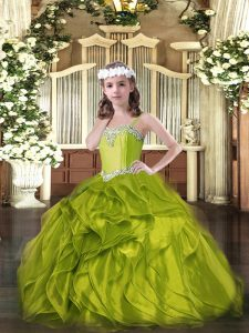 Ball Gowns Little Girl Pageant Dress Olive Green Straps Organza Sleeveless Floor Length Lace Up