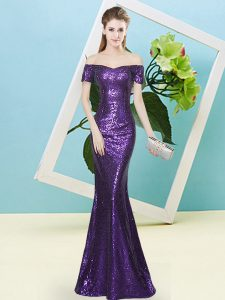 Best Short Sleeves Floor Length Sequins Zipper Prom Dress with Purple