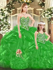 Green Sweetheart Lace Up Beading and Ruffles and Bowknot Quinceanera Gown Sleeveless