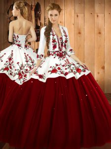Floor Length Wine Red Quinceanera Dresses Satin and Tulle Sleeveless Embroidery