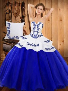 Graceful Strapless Sleeveless Quinceanera Gowns Floor Length Embroidery Royal Blue Tulle