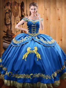Luxury Blue Sweet 16 Dress Sweet 16 and Quinceanera with Beading and Embroidery Off The Shoulder Sleeveless Lace Up