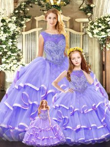 Ball Gowns Quinceanera Dresses Lavender Scoop Organza Sleeveless Floor Length Lace Up