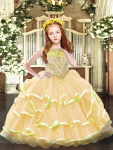 Gold Ball Gowns Beading and Ruffled Layers Child Pageant Dress Zipper Organza Sleeveless Floor Length