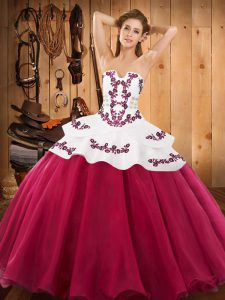 Noble Satin and Organza Sleeveless Floor Length Quinceanera Dresses and Embroidery