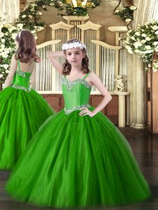 Admirable Straps Sleeveless Little Girls Pageant Gowns Floor Length Beading Green Tulle