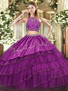 Purple Zipper Quince Ball Gowns Beading and Embroidery and Ruffled Layers Sleeveless Floor Length