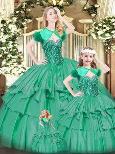 Turquoise Organza Lace Up Sweetheart Sleeveless Floor Length Quinceanera Gown Beading and Ruffled Layers